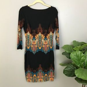 Cache Paisley Print Lined Crew Neck Dress SZ Small